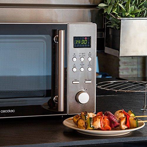 Cecotec Steel - Microondas plateado con grill, Acero inoxidable , 220-240 V ,Tipo de mandos digitales, Plateado/Gris, 45,2 x 26,2 x 33,5 cm