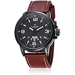 NAVIFORCE Men Auto Date Calendar Leather Sport Quartz Wrist Watch