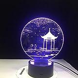 3D Illusion Night Light bluetooth smart Control 7 e 16M App mobile a colori Led Vision antico padiglione Tavolo Tablemall camera dei bambini soggiorno festa negozio pulsante USB compleanno acry