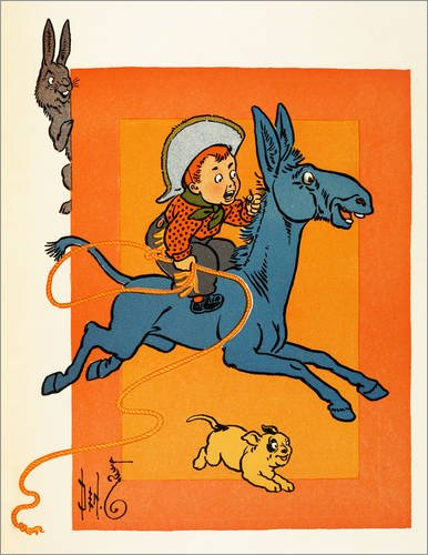 Leinwandbild 60 x 80 cm: Ein junger Cowboy, der ein Maultier reitet von Percy Alexander Leason / Bridgeman Images - fertiges Wandbild, Bild auf Keilrahmen, Fertigbild auf echter Leinwand, Leinwandd... (Leinwand Maultiere)