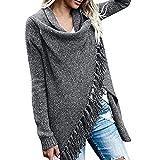 OIKAY Damen Poncho Cape mit Rollkragen Gestrickten Pullover Sweater unregelmäßige Quaste Cardigan Strickwaren Mantel(Dunkelgrau,EU-40/L)