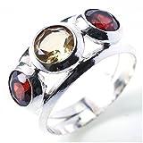 stargems (TM) 925Sterling Silber Citrin handgefertigt Einzigartige Ringe P 1/2Citrin C280