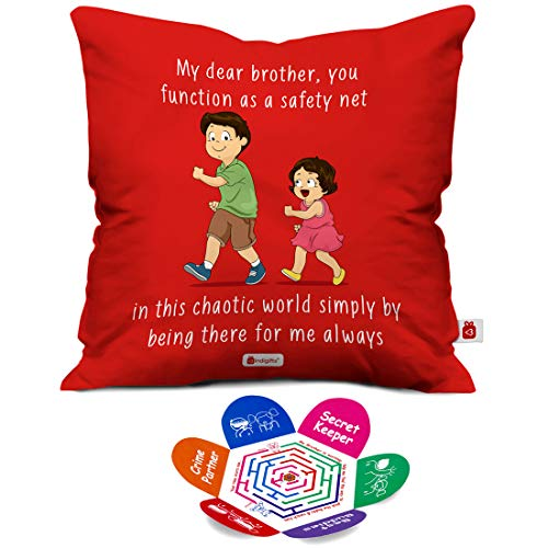 Indigifts Rakhi Gifts For Brother Bro As Saftey Net Quote Orange Cushion Cover 12x12 Inches With