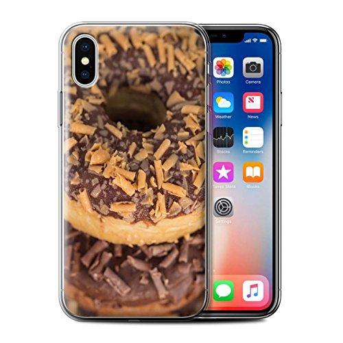 Stuff4 Gel TPU Hülle / Case für Apple iPhone X/10 / Schokolade Muster / Schmackhafte Donuts Kollektion Toffee