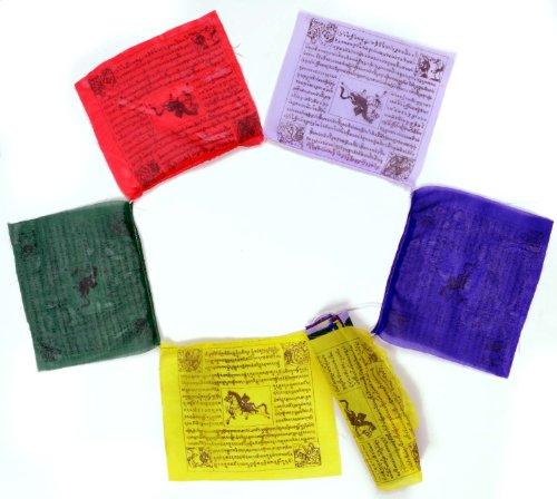 Buddhistische Gebetsfahnen 4,5 m Länge, 25 Blatt - jede Fahne hat eine Größe von 17x16 cm, feine Qualität Buddha Dekoration