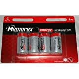 V6AA - MEMOREX ENERGY SUPER HEAVY DUTY BATTERIES SIZE C 1.5V 4PACK