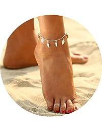 Simsly Pulsera tobillera de playa simbólica, cadena de pie con hojas de borla, accesorios de playa, joyería para mujeres y niñas (plata)