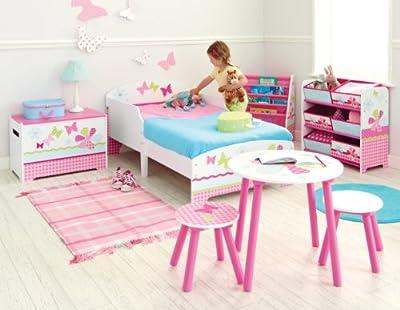 Hello Home - Cama Infantil con Estampado de Mariposas y Flores, Color Rosa