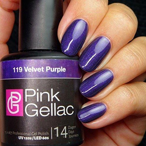 Vernis à ongles Pink Gellac 119 Velvet Purple. 15 ml gel Manucure et Nail Art pour UV LED lampe, top coat résistant shellac