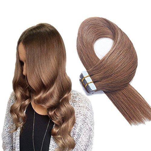 Extensions adesive lisce - con capelli veri 20 ciocche larghezza 4 cm lunghezza 40 45 50 55 60 cm (40cm, no.6 medio marrone)
