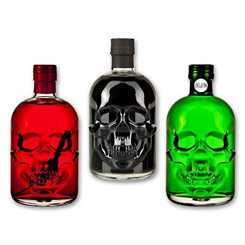 Totenkopf-Absinthe-Set: 1x Amnesie Absinthe 0,5l + 1x Black Head Absinthe 0,5l 1x Red Chili Head Absinthe