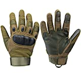 Xnuoyo Gomma dura Knuckle Full Finger e Mezza Finger Gloves Guanti di protezione Touch Screen Guanti per Moto Ciclismo Caccia Arrampicata Camping (Army Green, X-large)
