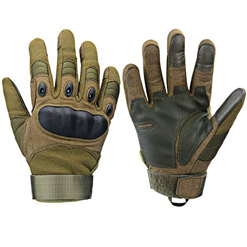 Xnuoyo Gomma dura Knuckle Full Finger e Mezza Finger Gloves Guanti di protezione Touch Screen Guanti per Moto Ciclismo Caccia Arrampicata Camping (Army Green, Medium)