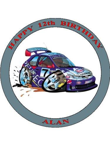 035-peugeot-306-maxi-rally-auto-koolart-0035-75-cerchio-glassa-topper-per-torta-personalizzato-con-q
