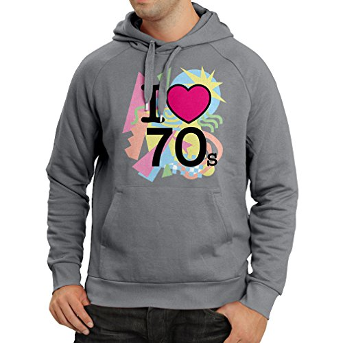 Kapuzenpullover I love 70's - vintage style clothing (Medium Graphit (Kostüm Party Dishonored)