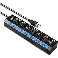 7 in 1 usb hub LOBKIN Porte USB e porte di ricarica con singoli interruttori on/off e luci a LED per PC, unità flash USB…