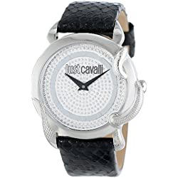 Just Cavalli Eden Women's Quartz Watch with Silver Dial Analogue Display and Black Leather Strap R7251576502