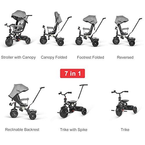 besrey dreirad 7 in 1 kinderdreirad kinder dreirad mit drehbarem sitz lenkbarer schubstange. Black Bedroom Furniture Sets. Home Design Ideas