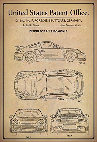 United States Patent Office - Design for A Motor Vehicle - Entwurf für ein Kraftfahrzeug - Porsche, Stuttgart 2011 - Design No 651.134 - metal sign blech projekt deko schild
