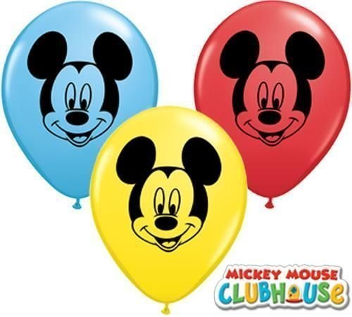 "Image of Mickey Mouse Face Assorted 5"" Qualatex Latex Balloons x 10"
