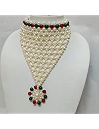 Omnisun Off-White And Multi Color Pearl Choker Necklace For Women