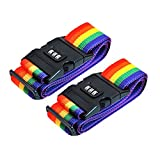 Suitcase Luggage Straps - 2 Pack Adjustable Rainbow Luggage Packing Belt with Password Lock Clip