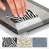 POLYCLEAN 3x VisiCleaner Reinigungskarte aus Microfaser P-9000 – Streifenfreie Displayreinigung im Scheckkartenformat (8,5 x 5,5 cm, 3 Stück) (Zebra, Giraffe)