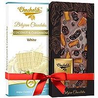 Chocholik Gift - White Coconut, Cardamom Bar and 35% Milk, Cranberry, Mango Chocochip Belgium Chocolate Bar (100 gm x 2 Bars)