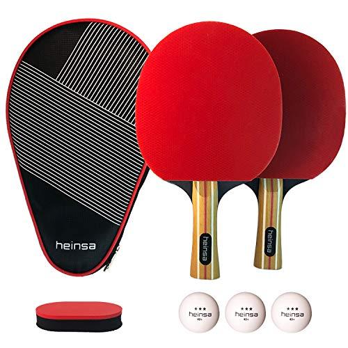 heinsa Premium Tischtennis Set - 2 Tischtennisschläger Set Profi mit Schläger Hülle, Tischtennisbällen (3 Sterne) und Pflegeschwamm