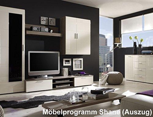 Kommode Highboard Shane 88x91x39cm Wohnzimmerschrank, Korpus Eiche Trüffel Design, Front Magnolie Hochglanz tiefgezogen - 2