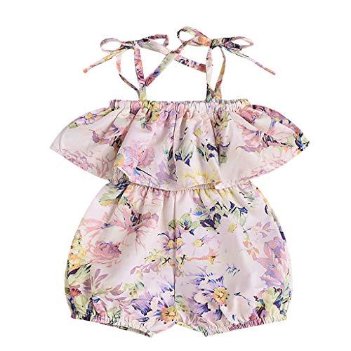 Knowin Body Baby Ärmellose Kinderschlinge mit Rüschenkragen und Blumendruck Harlier One Piece Babykleidung Sommer, Baby Mädchen Outfits Kleidung T-Shirt Tops