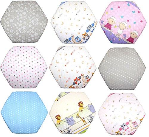 Spannbettlaken für 6-eck Laufgitter Matratze 120x105 cm Baby Kinder Laufstall Baumwolle D8