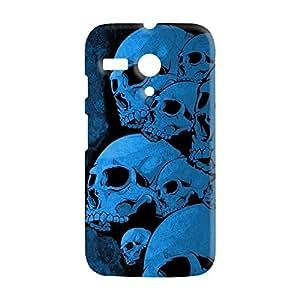 100 Degree Celsius Back Cover for Motorola Moto G 1st Gen (Skulls Printed Blue)