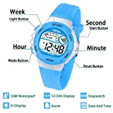 Kinder Digitaluhr für Jungen Mädchen Armbanduhr Sport 50M (5ATM) Wasserdichte LED Multifunktions Mädchen Armbanduhr mit Alarm für Jungen,Mädchen,Kinder,Studenten(Blau)