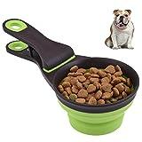 Petacc Cucharada de comida para mascotas Alimentador plegable de comida para perros Scoop multifuncional de comida para gatos taza para medir, diseño de la manija del clip, 118 ml, verde