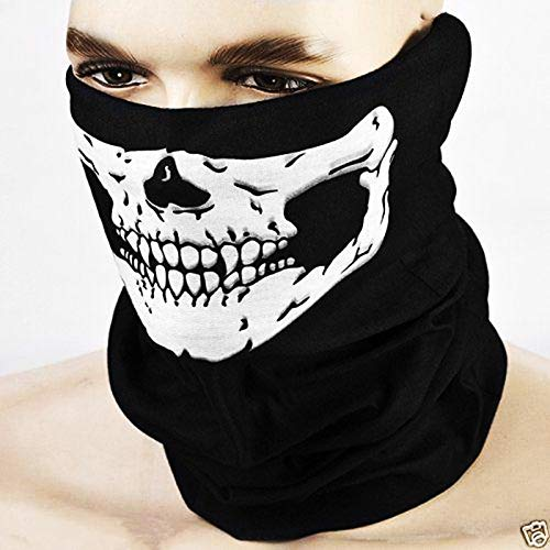 (Party Masks - Halloween Skeleton Mask Outdoor Motorcycle Bicycle Multi Function Headwear Hat Scarf Half Face Cap - Pack Dinosaur Gold Party Women Wear Glasses Headbands Stick Lace Capes Super)