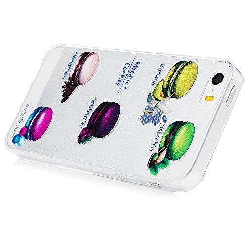 iPhone 5 5G 5S SE Crystal Case Hülle YOKIRIN Hülle Helle TPU Silikon Case Cover Transparent Handytasche Handyhüll Handycase Etui Backcover Rückseite Protective Schale Schutzhülle Muster:Blume Baum Macarons