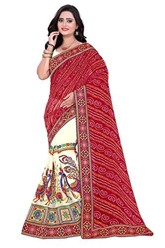Riva Enterprise women's bandhani pallu pattern red and off white color saree...