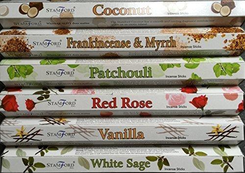 Myrrhe Patchouli (Stamford Premium Hex Range Räucherstäbchen,–Coconut, Weihrauch und Myrrhe, Patchouli, Red Rose, Vanille & Weißer Salbei 20Sticks pro Duft (120Sticks))