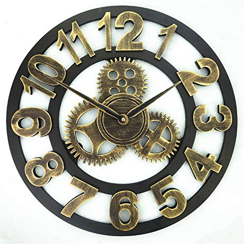 Wanduhr Vintage Gear Design römische arabische Ziffer Metall Wanduhr batteriebetriebene Runde Rahmen künstlerische dekorative Uhr keine zweite Hand stumm ticken Wand Kunst Dekor für Wohnzimmer Küche B (Metall-rahmen-wand-kunst)