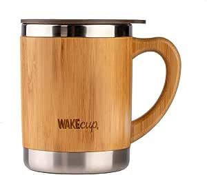 WAKEcup - Tazza da viaggio riutilizzabile in bambù, doppia parete in bambù e acciaio inox, ecologica, con manico e coperchio, materiali sostenibili