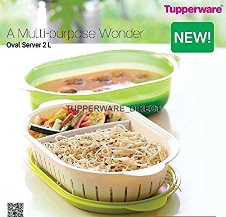 Tupperware Oval Plastic Server, 2 litres, Green