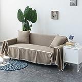 WSFJ Wohnzimmer Sofa abdecken,Single Double Dreifach- Sofabezug All-Inclusive Volltonfarbe Sofa Handtuch Universal Vier Jahreszeiten Volle Deckung Tuch-O 215x200cm(85x79inch)