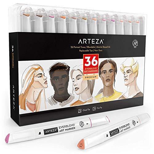 ARTEZA Everblend Rotuladores de arte con tonos de piel | Juego de 36 colores | Rotuladores de dibujo de doble punta con base de alcohol | Puntas fina + biselada | Ideales para pintar retratos