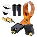 HB Digital SAT Fensterdurchführung für Sat Kabel Gold, antennenkabel satellitenkabel koax + 2X F-Stecker + 2X Gummitüllen + 2X Klebepads (doppelseitiges Klebeband) für Fenster und Türen Ultra Flach