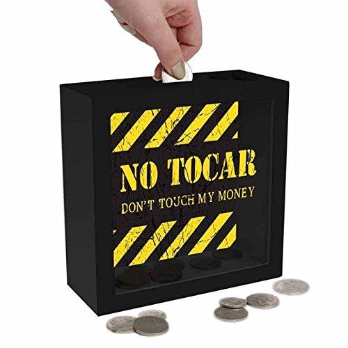 HUCHA DE MADERA Y CRISTAL Mensaje 'Money Bank Madera, No Tocar Prohibido...'.