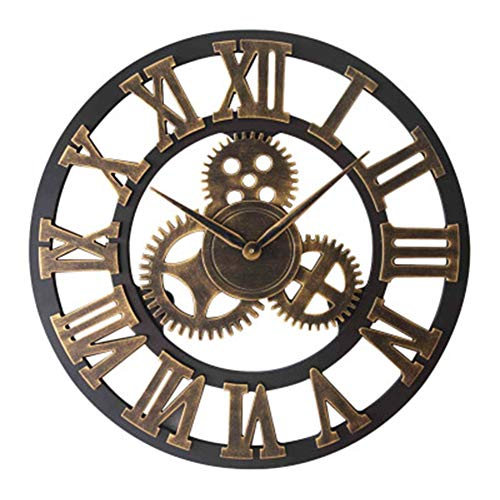 YZMKD Reloj De Pared De Engranaje, Reloj De Pared De Metal Retro Vintage Redondo, Números Romanos 3D, Reloj De Pared De Hierro Decorativo Grande para El Hogar Y La Oficina (Gold-1,80 x 80 cm)