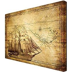 """Cuadro decorativo de piratas """"Time of exploration"""", 80 x 120 cm."""