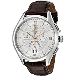 S.Coifman Men's Quartz Watch with Silver Dial Chronograph Display and Brown Leather Strap SC0321