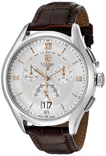 SCoifman-Mens-Quartz-Watch-with-Silver-Dial-Chronograph-Display-and-Brown-Leather-Strap-SC0321